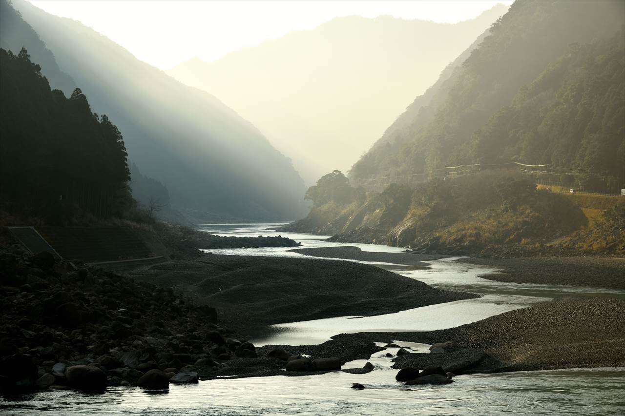 熊野川の朝霧